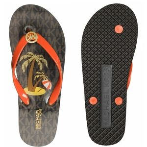 🆕 MICHAEL KORS MK Logo Thong Flip Flops Sandals